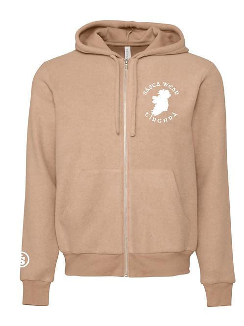 Tírghrá Luxury Oatmeal Unisex Sueded Fleece Embroidered Hoodie