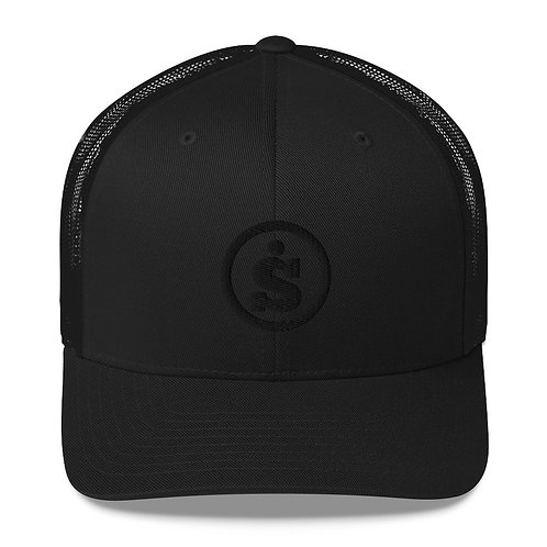 Sásta Black on Black Embroidered Classic Trucker Cap