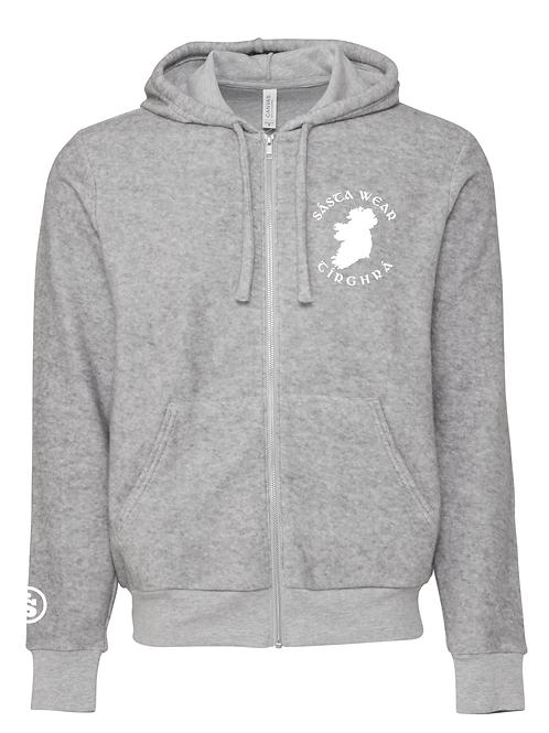 Tírghrá Luxury Grey Unisex Sueded Fleece Embroidered Hoodie
