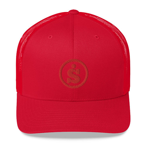 Sásta Classic Embroidered Red on Red Trucker Cap