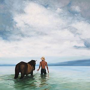 Ocean Dip oil painting by local Salt Spring Island artist Daina Deblette, available at Ocean Art Studio