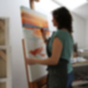 What to do on Salt Spring Island? Visit local artist Daina Deblette and sign up for art classes and workshops year round in encaustic painting, oil painting, watercolour, abstract painting, mixed media, private lessons and more at Ocean Art Studio (show is Daina oil painting Sol y Mar in her studio)