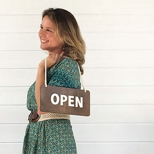 Daina in Studio, Open Sign.jpg