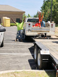 Shiflett Enterprises employee and service truck on jobsite for underground construction