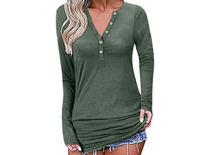 Long Sleeve V-Neck T Shirt
