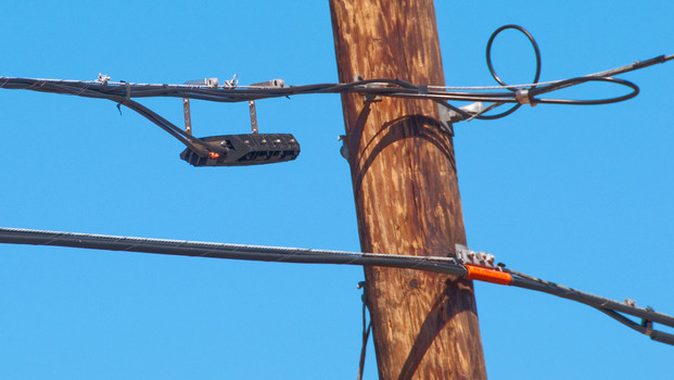 Telephone Pole with Aerial Cabling
