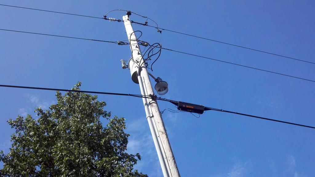 telephone pole with areial cabling