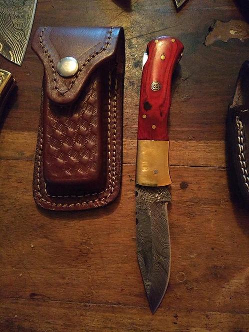 Folding Lock Knife, long, red handle