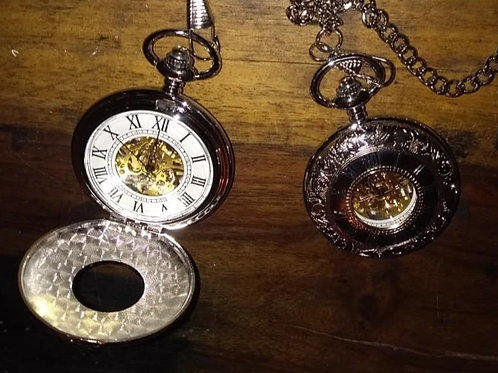 Silver Hunter Mechanical Pocket Watch