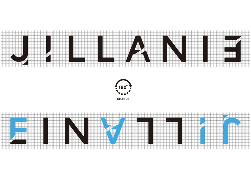 """JILLANIEのロゴと180°回転させると""""FAIR""""の文字が浮かぶ"""