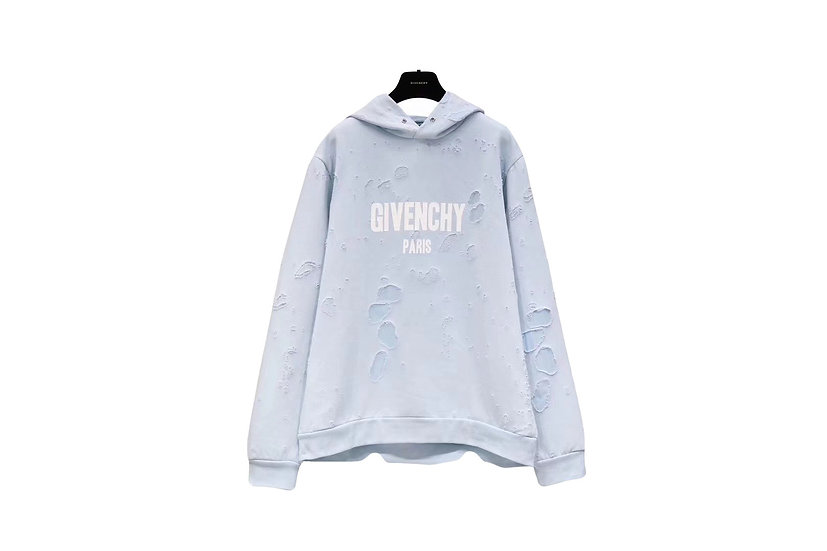 Givenchy Baby Blue Destroyed Logo Hoodie
