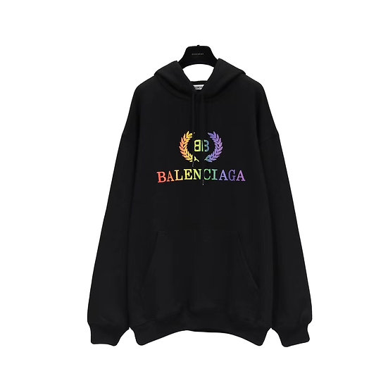Balenciaga Rainbow Crest Hoodie Black