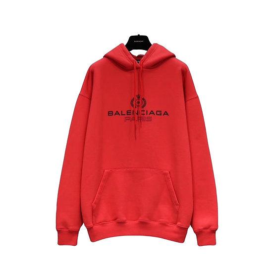 Balenciaga Paris Crest Logo Hoodie Red