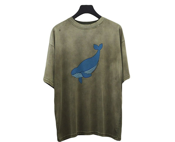 "Balenciaga ""Endangered Species"" Whale Print Tee Olive"