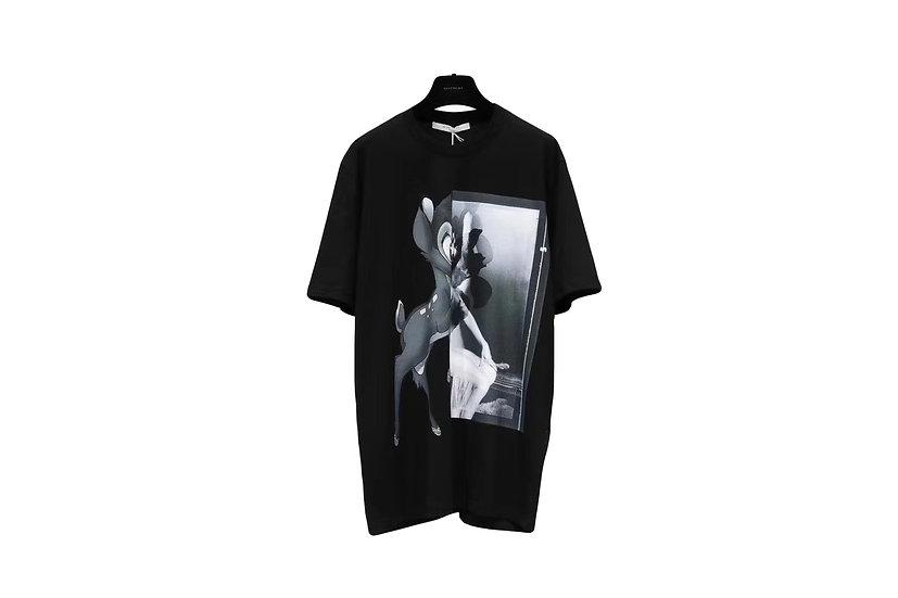 Givenchy Paris Bambi T-Shirt Black Monochrome