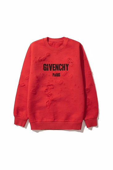 Givenchy Red Destroyed Logo Sweatshirt