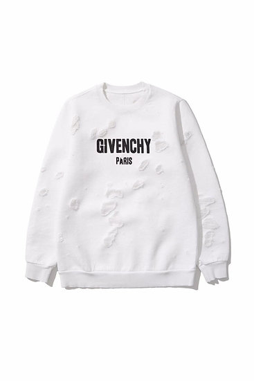 Givenchy White Destroyed Logo Sweatshirt