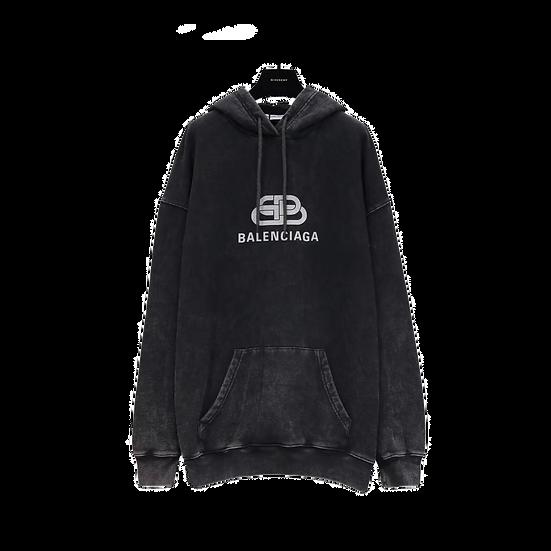 Balenciaga Washed Denim BB Logo Hoodie Black