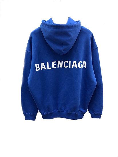Balenciaga Back Logo Print Hoodie Blue