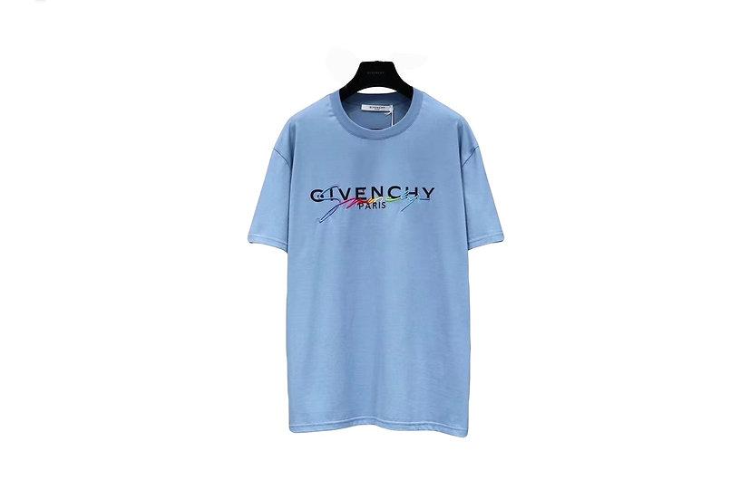 Givenchy Blue Rainbow Signature Logo T-Shirt