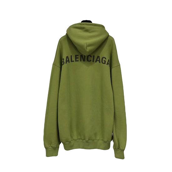 Balenciaga Back Logo Print Hoodie Olive
