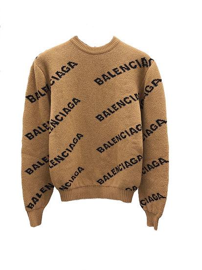 Balenciaga Diagonal Logo Sweatshirt Brown