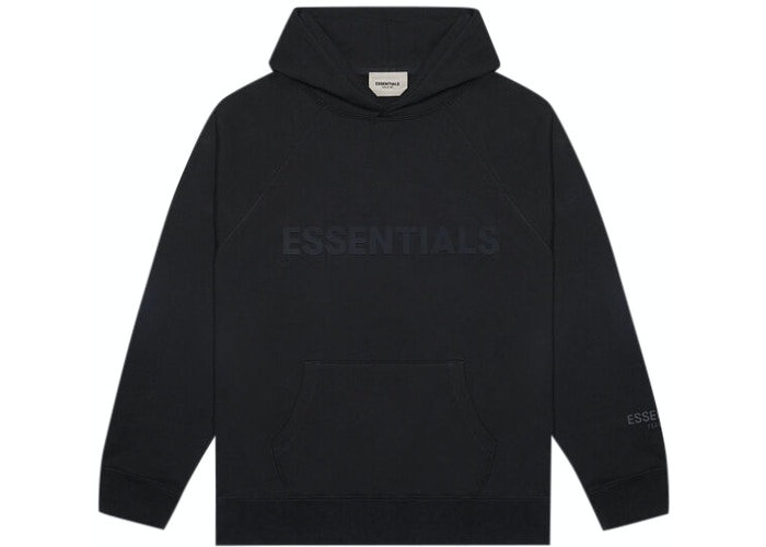 Fear of God ESSENTIALS 3D Silicon Applique Pullover Hoodie Black