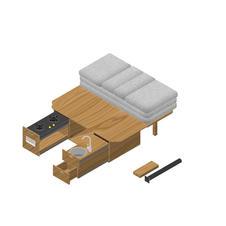 Modular bed kitchen platform for van