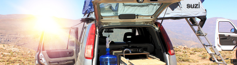 4wd camper rentals in chile, nissan xtrail with a roof top tent in valle nevado farrellones chile.