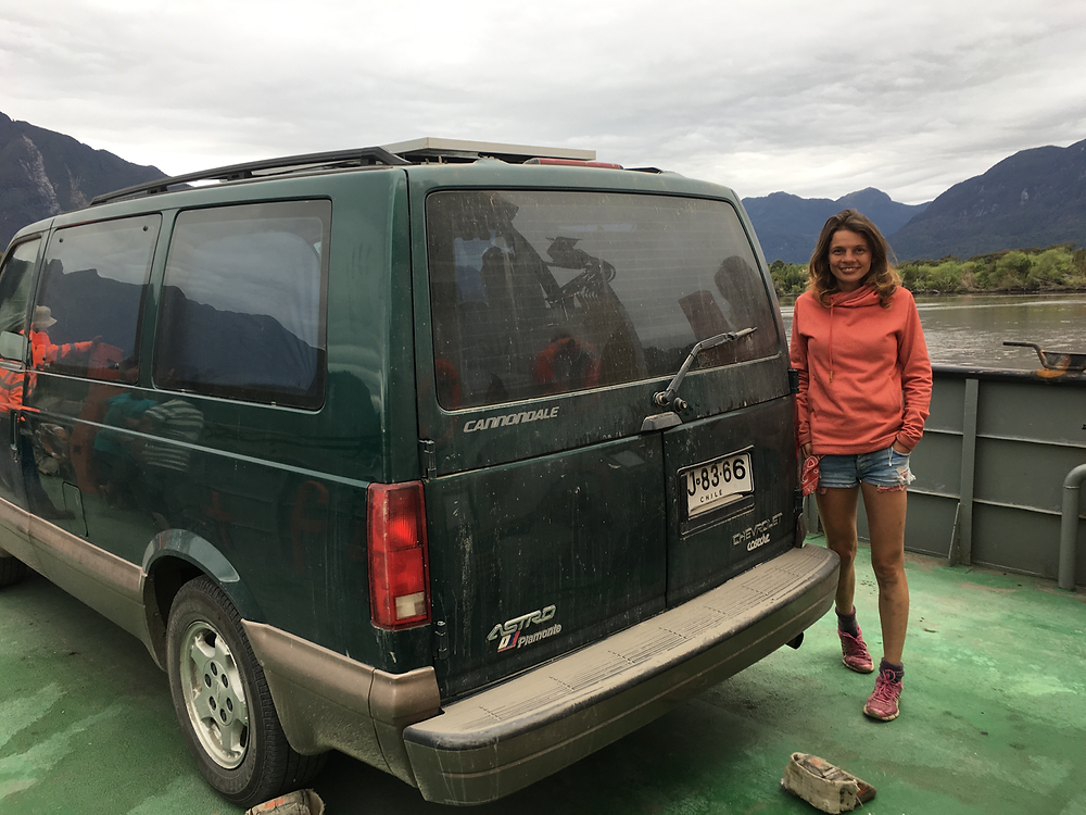 patagonia chile, ferry,chevrolet astro van camper