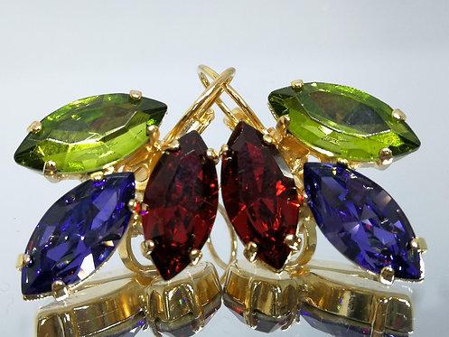 Model # 477 ירוק זית, סגול לבנדר,אדום ארגמן.  אבנים: קריסטל, וקריסטל סברובסקי.  עגילי קריסטל , מתנה בשבילה,