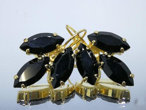 שחור ג'ט אטום  אבנים: סברובסקי.  מתנה בשבילה, מתנה לכלה, עגילי עלים, Model # 426