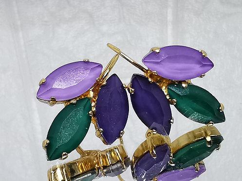 #Model 742 סגול לילה, ירוק בקבוק, וסגול חציל.  אבנים: קריסטל אקוורל.  מתנה בשבילה, מתנה לכלה, עגילי עלים