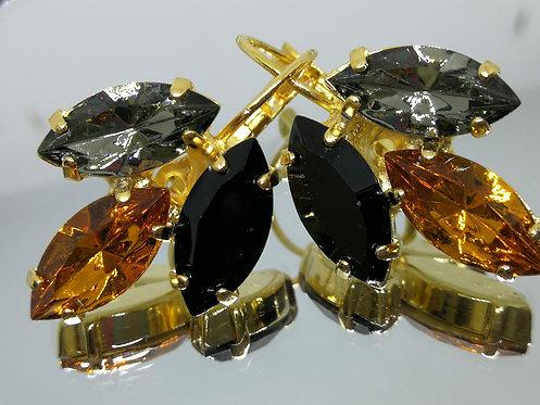 Model # 555 שחור, חלודה/קוניאק, אפור כסוף.  אבנים: סברובסקי עגילי זהב, עגילי מרקיזה בגימור זהב ללא ניקל.