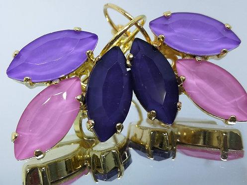 סגול לילך, ורוד, סגול חציל  אבנים: אבני אקוורל.  מתנה בשבילה, עגילי דמעה, Model # 480