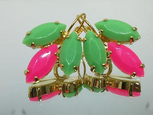 ירוק מנטה, ורוד בזוקה, ירוק מנטה.  אבנים: אקריל  עגילי אקריל, מתנה בשבילה, Model # 443