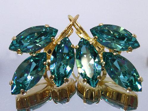 טורקיז בהיר  אבנים: סברובסקי  עגילי סברובסקי, מתנה בשבילה, Model # 474