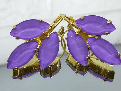 לילך  אבנים: אקוורל  מתנה בשבילה, עגילי דמעה,מתנה לכלה, עגילי עלים, Model # 528