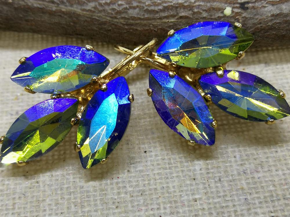 עגילים מצופים זהב נטול ניקל, ירוק שקוף קריסטל, עגילי טיפה, עגילים בתליה