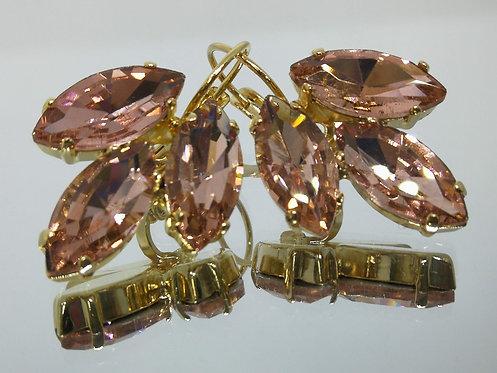 שמפניה וורודה  אבנים: קריסטל  מתנה בשבילה, עגילי דמעה, Model # 486