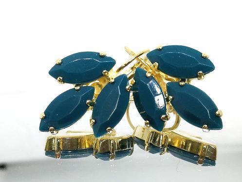 ירוק פטרול  אבנים: אקריל  מתנה בשבילה, עגילי דמעה,מתנה לכלה, עגילי עלים, Model # 543