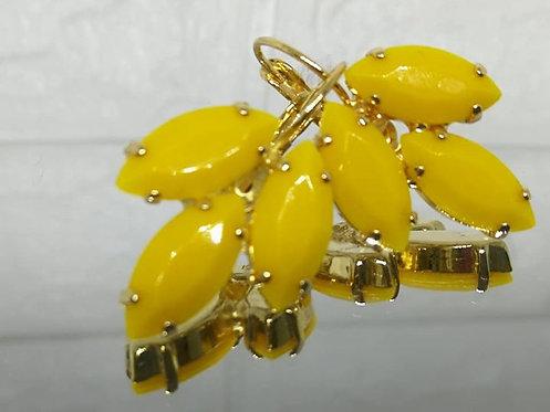 Model # 494 חרדל אטום.  אבנים: אקריל.  מתנה בשבילה, עגילי דמעה,  מתנה לכלה, עגילי עלים,