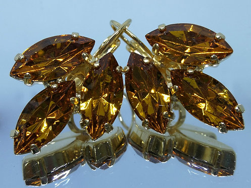 Model # 471 טופז  אבנים: סברובסקי  עגילי סברובסקי, מתנה בשבילה, מתנה לכלה, עגילי עלים, עגילי דמעה,