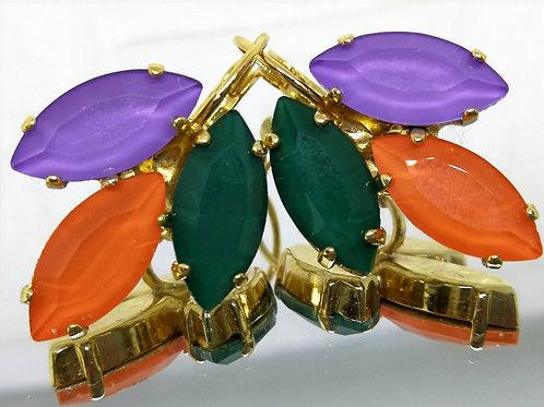 # Model 703 סגול לילך, כתום, ירוק בקבוק.  אבנים: קריסטל אקוורל.  מתנה בשבילה, מתנה לכלה, עגילי עלים,