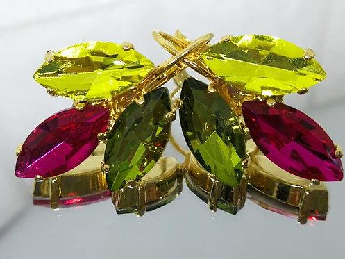 לימון' פוקסיה, ירוק זית.  אבנים: קריסטל  מתנה בשבילה, עגילי דמעה, Model # 503