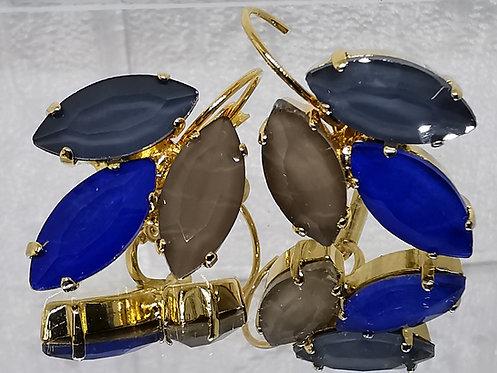 #Model 768 בלאק דיימונד, כחול ספיר כהה, טופז .  אבנים: קריסטל אקוורל.  מתנה בשבילה, מתנה לכלה, עגילי עלים