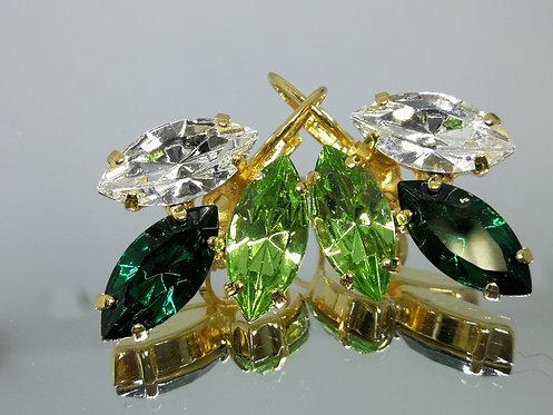 Model # 416 קריסטל שקוף, ירוק אזמרגד, ירוק דשא  אבנים:סברובסקי  מתנה בשבילה, מתנה לכלה, עגילי עלים