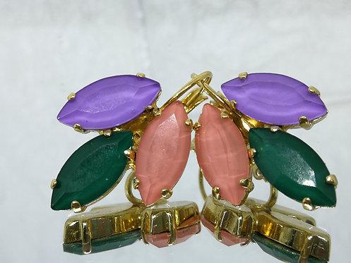 סגול, ירוק, ורוד  אבנים: קריסטל אקוורל.  מתנה בשבילה, מתנה לכלה, # Model 718