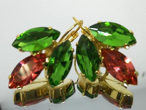 ירוק, לוטוס, ירוק.  אבנים:קריסטל וקריסטל סברובסקי. מתנה בשבילה, Model # 448