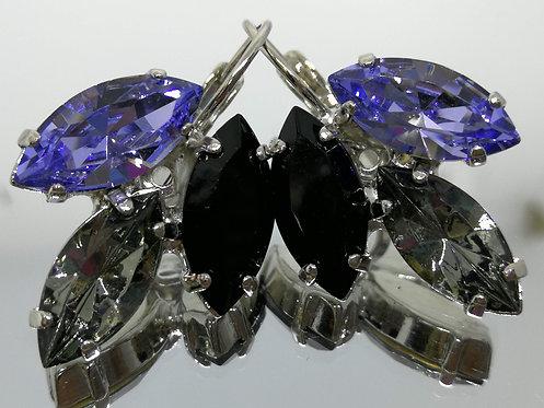 Model # 601 לבנדר בהיר, אפור כסף, שחור מט .  אבנים : סברובסקי.  מתנה בשבילה, מתנה לכלה, עגילי עלים,עגילי טיפה,